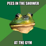 pees in the shower