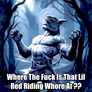 Where The Fuck Is That Lil Red Riding Whore At ??